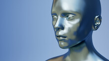 Metal Android Head Machine Artificial Intelligence 3D Illustration