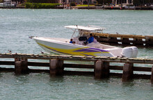 Sport Fishing Boat Powered By Two Outboard Engines Cruising On The Florida Intra0Coastal Waterway Off Of Miami Beach.