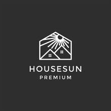 Creative Modern Morning Sun With House Logo Design Template On Black Background