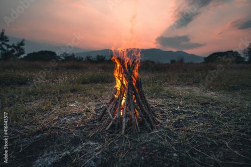 Fotografia Camp Fire The bonfire in the evening