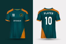 T-shirt Sport Design Template For Soccer Jersey, Football Kit And Tank Top For Basketball Jersey. Sport Uniform In Front And Back View. Tshirt Mock Up For Sport Club. Vector Illustration.
