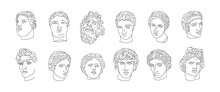 A Set Of Antique Sculptures In A Minimalistic, Trendy Linear Style. Vector Illustration Of Ancient Greek GodsVenus, Apollo, David, Aphrodite And Others. For T-shirts Print, Posters, Cards, Tattoos