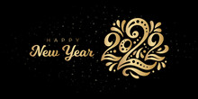 Happy New Year 2022. The Logo Of Number 2022 Is In Russian Style With Curls. Vector Web Banner, Poster, Greeting For Social Networks And Media. Gold Logo 2022 On A Black Background With Golden Sequins