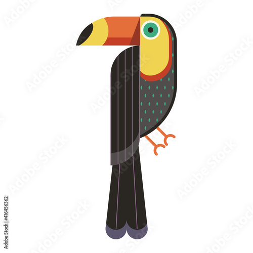 Fototapeta premium Toucan Bird Geometric Icon in Flat Design