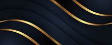 Luxury Abstract Background With Golden Lines On Dark, Modern Black Navy Backdrop Concept 3d Style. Illustration From Vector About Modern Template Deluxe Design