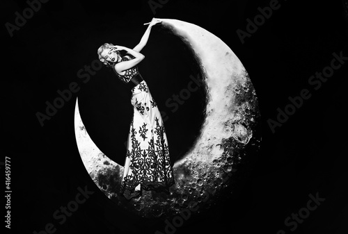 Tablou Canvas Beautiful young woman in evening elegant dress with lace