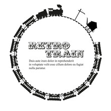 Retro Train Round Frame. Sample Text. Flat Vector Illustration Isolated On White.