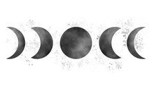 Watercolor Moon Phases Composition With Blotchy Drops On Background Vector Illustration Isolated On White Background.