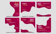 Social Media Post Template Set For Yoga Promotion Content. Red Background With A Photo Collage. Vector Design Illustration. Usable For Social Media, Flyers, Banners, And Web Internet Ads.