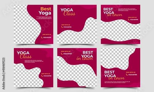 Fotografía Social media post template set for yoga promotion content