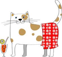 Vector Cartoon Big Cat Drink Lemon Juice With Red Flower Pants