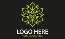 Green Color Abstract Simple Circle Mandala Shape Line Art Leaf Nature Eco Logo Design