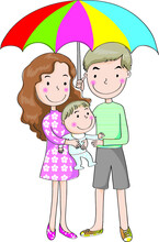 Vector Cartoon Family Daddy Mommy Baby Under Umbrella