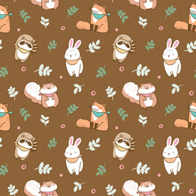Seamless Pattern With Cartoon Fox, Rabbit, Raccoon And Squirrel Illustration Design On Brown Background