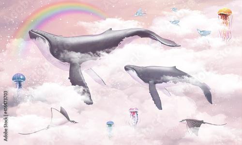 Naklejki na meble z latającym wielorybem dla dziewczynki