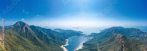 Panorama of the Shek Pik reservoir, the famous hiking location in Lantau Island, Hong Kong