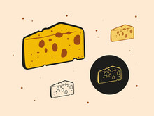 Set Of Triangular Pieces Of Cheese With Holes