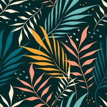 Vector Seamless Pattern With Hand Drawn Tropical Ornament, Palm Leaves On Dark Green Background Jungle Pattern. Trend Flat Pattern For Printing On Fabric. Clothes, Wrapping Paper
