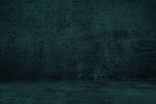 Abstract Black Grunge Concrete Room Background.