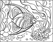 Coloring Page Tropical Fishe And Coral Reef. Ocean Bottom With Sea Inhabitants And Seaweed. Antistress Freehand Sketch Drawing. Vector Illustration. Coloring Book. EPS 8.