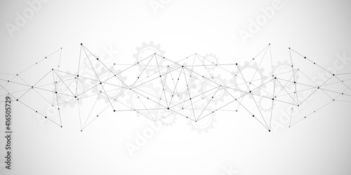 Abstract polygonal background with connecting dots and lines. Global network connection, digital technology and communication concept - fototapety na wymiar