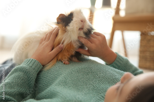 Little girl with guinea pig at home, closeup. Childhood pet Fotobehang