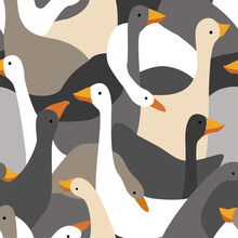 Vector Seamless Pattern. Geese Calage. Geese Of Various Shapes And Colors.