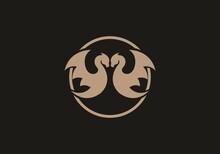 Brown Twin Dragon In Circle
