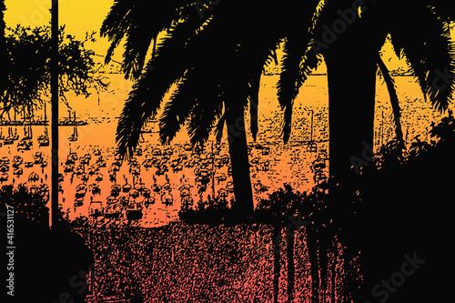 Porto di Lerici con barche e alberi di palma tramonto astratto Fototapeta