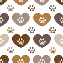 Cute Brown Hearts And Doodle Paw Prints. Fabric Design Seamless Pattern