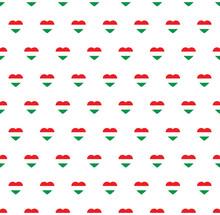 Heart Hungary   Flag Seamless Pattern.  Hungary   Flag Texture Vector