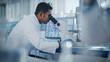 Leinwandbild Motiv Medical Research Laboratory: Male Scientist Looking Under Micrsocope, Analyzing Samples. Advanced Scientific Lab Biotechnology, Medicine, Microbiology, Drugs Development.