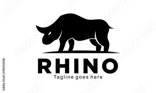 Fotografie, Obraz Wild rhino vector logo
