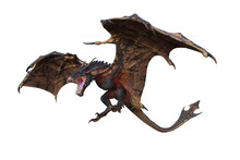 Wyvern Or Dragon Fantasy Creature Flying With Mouth Open To Breath Fire, 3D Illustration Isolated On White.