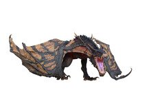 Wyvern Or Dragon Fantasy Creature Walking, 3D Illustration Isolated On White.