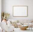 Leinwandbild Motiv Mock up frame in home interior background, beige room in Scandi-Boho style, 3d render