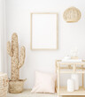 Leinwandbild Motiv Mockup frame in bedroom interior background, Coastal boho style, 3d render
