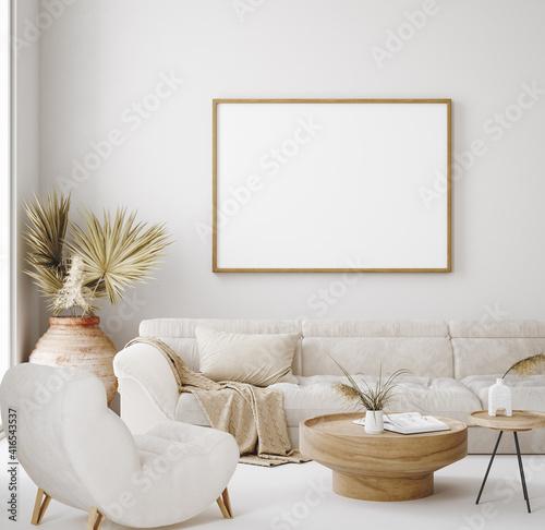 Mock up frame in home interior background, beige room in Scandi-Boho style, 3d render © artjafara