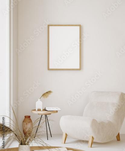 Mock up frame in home interior background, beige room in Scandi-Boho style, 3d render
