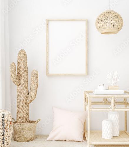 Tableau sur Toile Mockup frame in bedroom interior background, Coastal boho style, 3d render