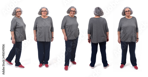 Obraz the same woman in sportswear with various poses on white background - fototapety do salonu