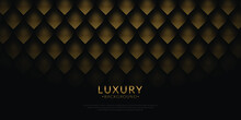 Luxury Dark And Gold Background Combine With Curve Pattern Element. Vector Abstract Luxury Backgrounds For Poster, Flyer, Digital Board And Concept Design. Gold Text. Golden Feather Concept.