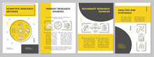 Scientific Research Methods Brochure Template. Secondary Sources. Flyer, Booklet, Leaflet Print, Cover Design With Linear Icons. Vector Layouts For Magazines, Annual Reports, Advertising Posters