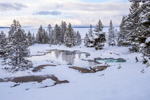 Snowscape Of Thermal Feature With Reflection, Yellowstone National Park, UNESCO World Heritage Site, Wyoming, United States Of America, North America