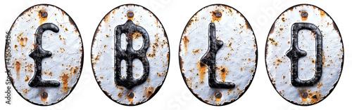 Set of symbols pound, baht, litecoin, dashcoin made of forged metal on the background fragment of a metal surface with cracked rust Fototapeta