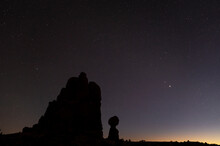 Silhouette Of Balanced Rock At Dusk, Arches National Park, Utah, United States Of America, North America