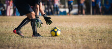 Goalkeeper Is Catching The Ball On The Football Field
