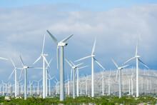 Wind Turbines Generating Electricity, Santa Barbara, California, United States Of America, North America