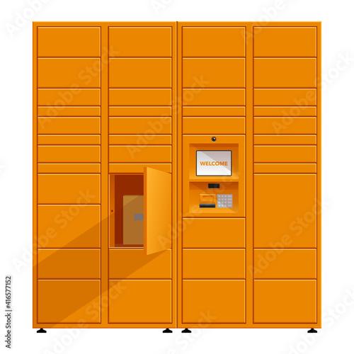 Fotografia, Obraz Automated parcel locker in orange color