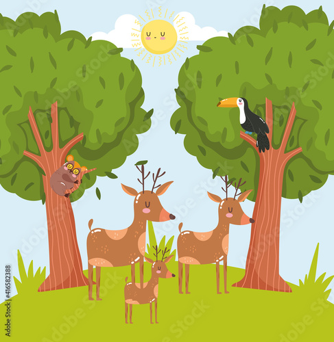 Fototapeta premium Animals forest cartoon